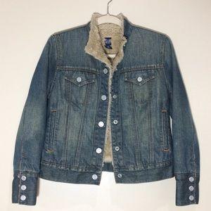 GAP   Faux Fur Lined Denim Jean Jacket XS
